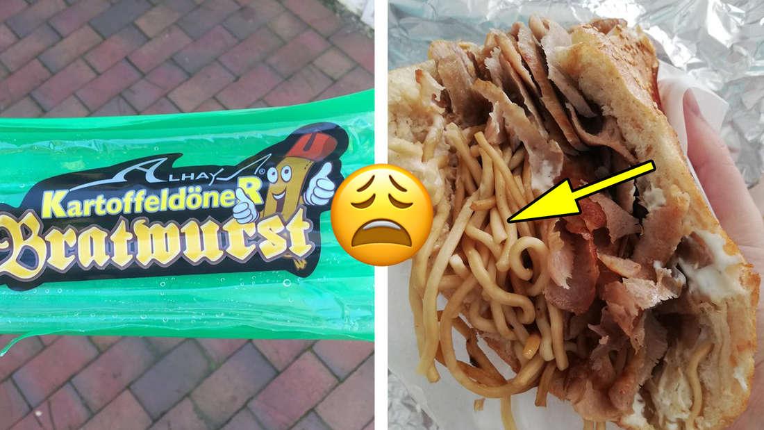 """Eine Packung, auf der """"Kartoffeldöner Bratwurst"""" steht. Daneben ein Bild von einem Döner, in den jemand Nudeln gepackt hat. In der Mitte ein Emoji, das leidend aussieht."""