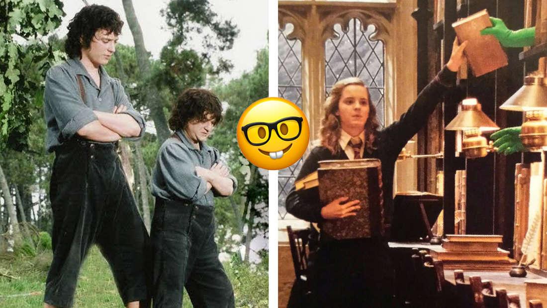 """Elijah Wood und sein kleineres Body Double in """"Herr der Ringe"""". Emma Watson stellt in """"Harry Potter"""" Bücher in ein Regal zurück, die von grünen Händen entgegengenommen werden."""