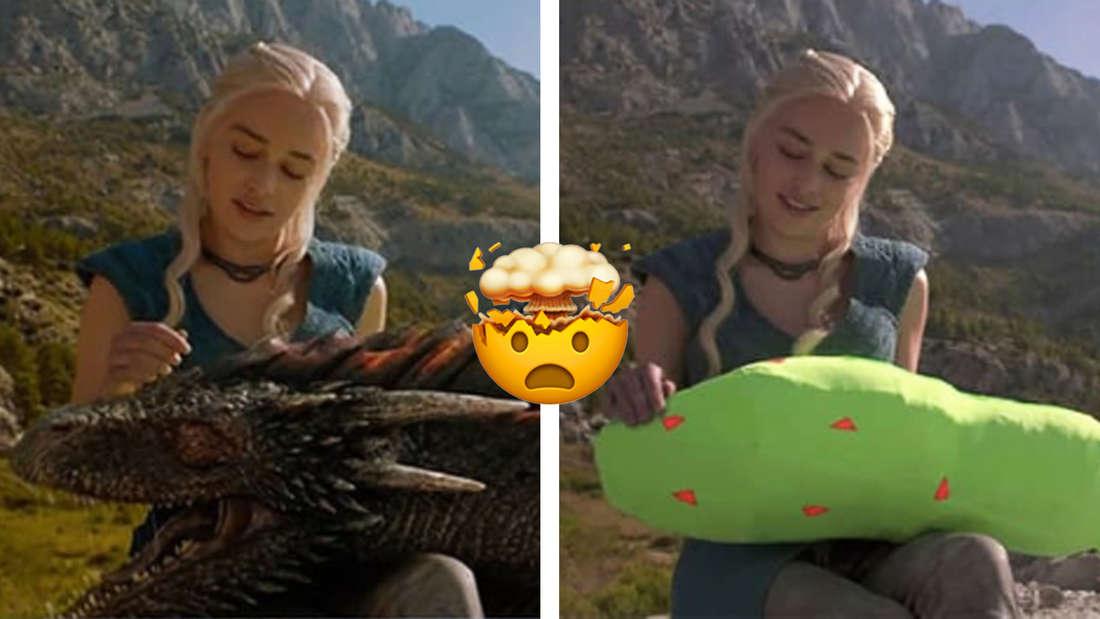 Daenerys Targaryen in Game of Thrones mit ihrem Drachen auf dem Schoss und zum Vergleich die Szene mit einem grünen Stoffkopf vor der Nachbearbeitung.