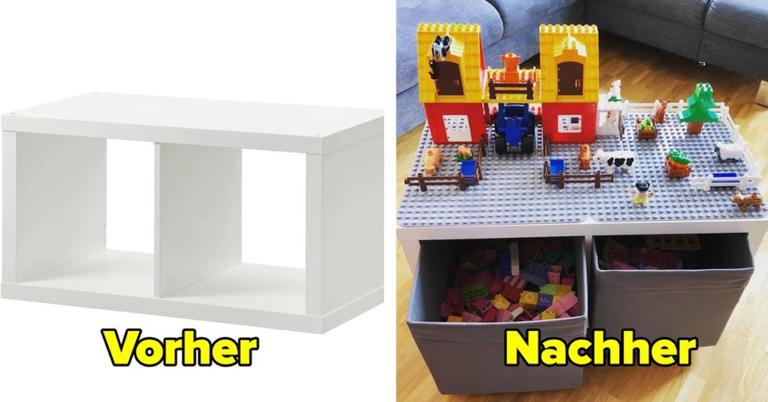 Ein KALLAX-Regal von IKEA. Text: Vorher. Daneben ein KALLAX-Regal, auf das jemand eine Duploplatte geklebt hat, auf der Figuren stehen. In den Fächern stehen Boxen mit Duplo-Steinen. Text: Nachher.