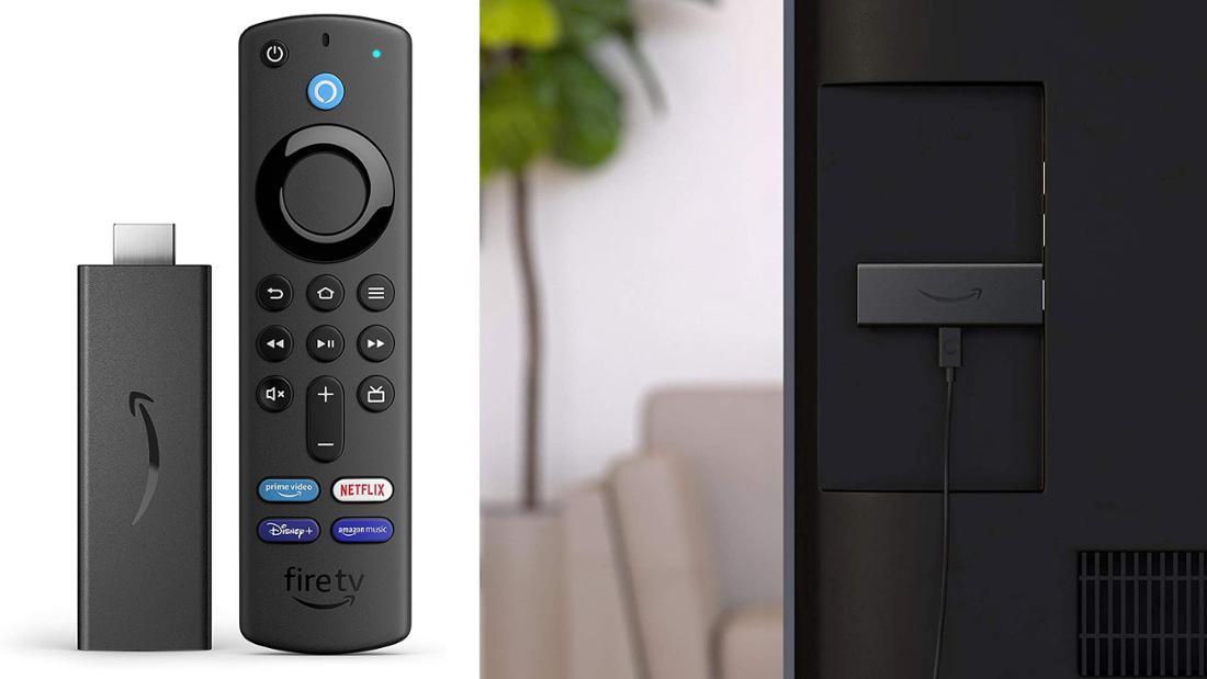 Schwarzer Stick zum Anschließen an den Fernseher mit Sprachfernbedienung, mit Schnellzugriff auf Netflix, Disney+, prime video und prime music.