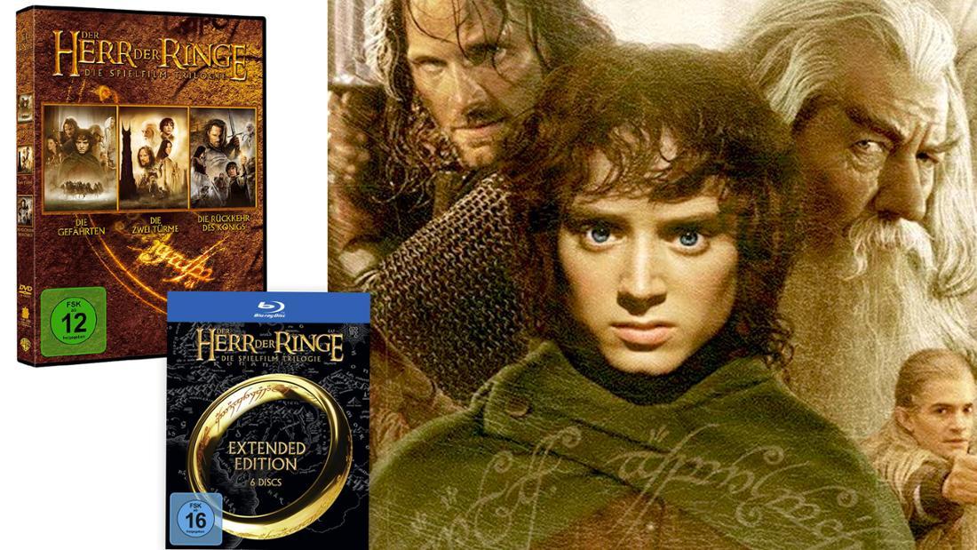 Herr der Ringe-Trilogie als DVD oder Blueray-Set.