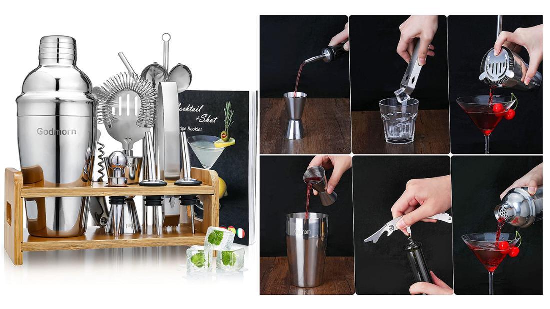 Cocktailset bestehend aus: Einem Shaker, einem Jigger Messbrecher, einem Eissieb, einem Öffner, zwei Strohhälmen, zwei Löffeln, einer Eiszange, zwei Ausgießern, einem Flaschenverschluss, einer Rohrbürste, einem Cocktail Rezeptbuch, und einem Bambusständer zum Verstauen.