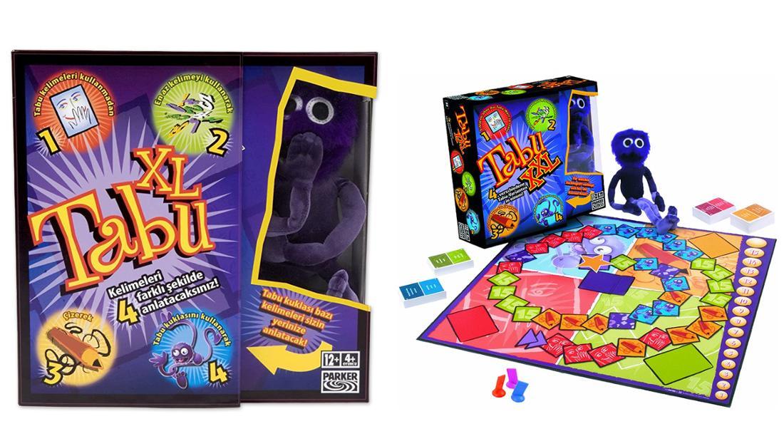Tabu XXL Partyspiel mit Knotenknut für Pantomime, Spielbrett und Karten.