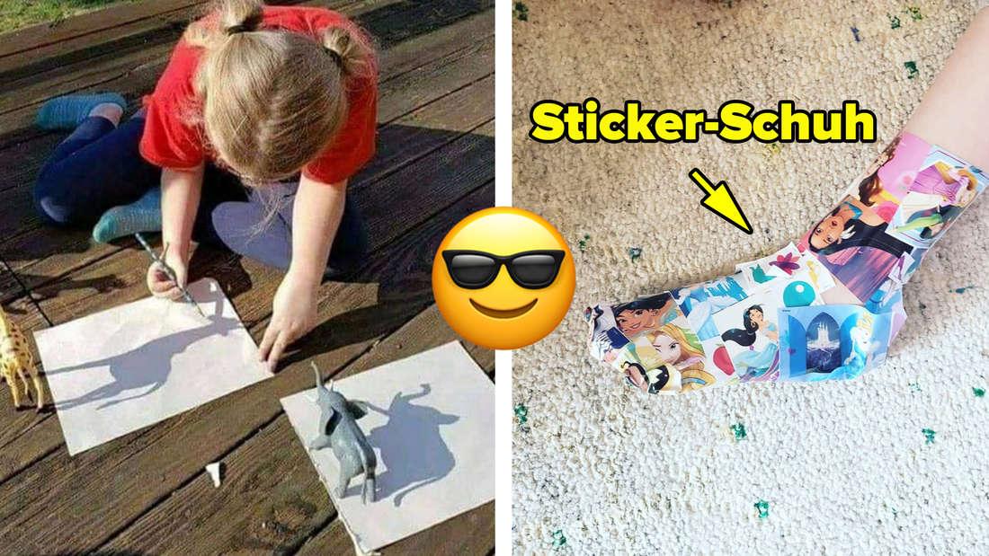 Ein Kind, das Plastiktiere vor Stücke Papier gelegt hat, damit die Sonne so drauf scheint, dass sie sie abzeichnen kann. Daneben ein Kind, das einen Schuh aus Stickern trägt. Text: Sticker-Schuh. In der Mitte ein Emoji, das eine Sonnenbrille trägt.